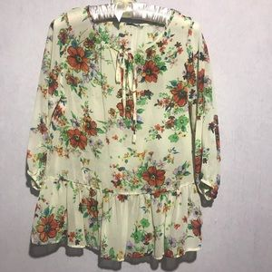Blue Sketch Light yellow floral blouse, small